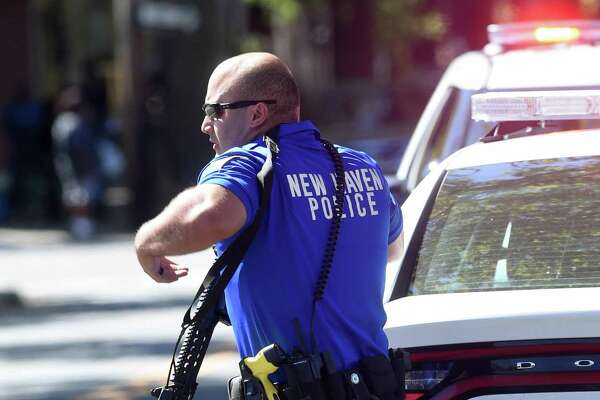 The scene of a police response to shootings on Elm St. in New Haven on September 23, 2017. Arnold Gold / Hearst Connecticut Media