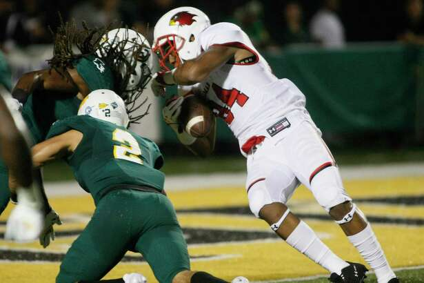 Lamar University's junior wide receiver Isaiah Howard, right, in a touchdown play against Southeastern Louisiana defenders Mayori Ellison and Ryan Sigers in Hammond, Louisiana, on Saturday, Sept. 23, 2017. Randolph Bergeron, Southeastern Louisiana Athletics