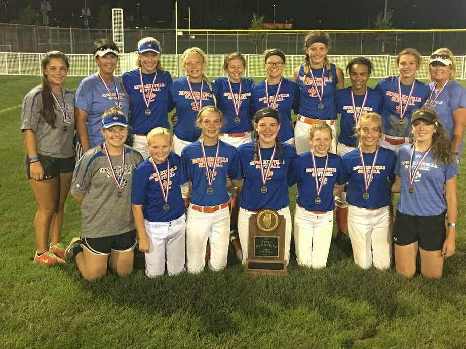 Lincoln softball team poses after finishing second at the IESA Class AA state tournament.