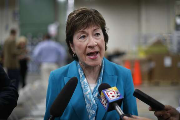 "FILE - In this Thursday, Aug. 17, 2017, file photo, U.S. Sen. Susan Collins, R-Maine, speaks to members of the media while attending an event in Lewiston, Maine. Collins said Sunday, Sept. 24, she finds it ""very difficult"" to envision backing the last-chance GOP bill repealing the Obama health care law. That likely opposition leaves the Republican drive to fulfill one of the party's premier campaign promises dangling by a thread. (AP Photo/Robert F. Bukaty, File)"