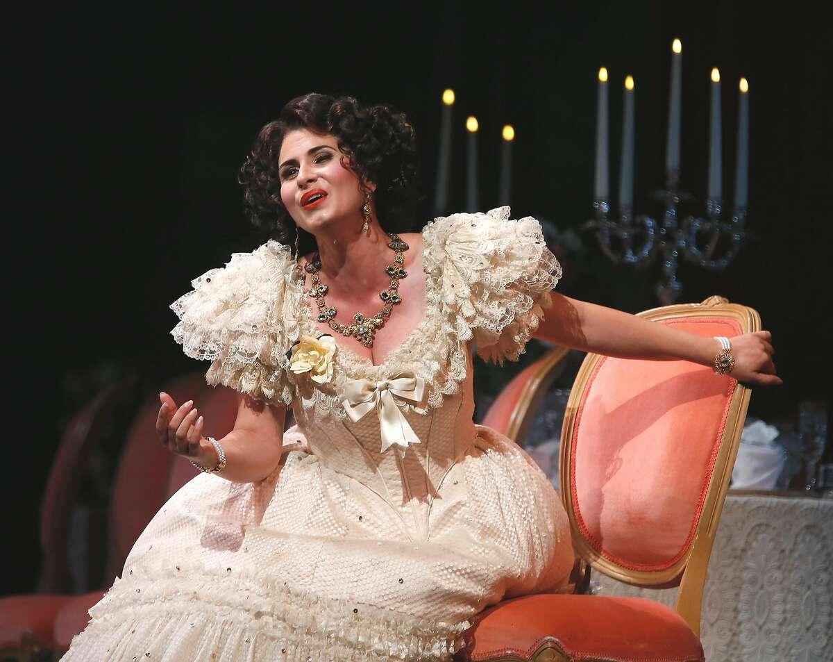 Aurelia Florian as Violetta during a rehearsal of San Francisco Opera's Verdi's