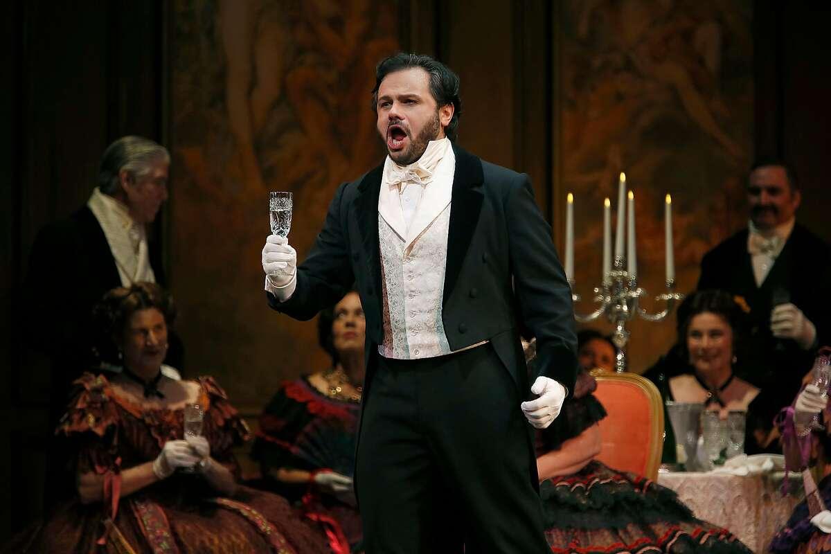 Atalla Ayan as Alfredo during a rehearsal of San Francisco Opera's Verdi's