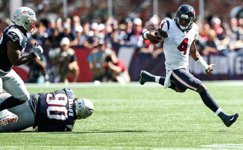 JOHN McCLAIN'S GRADES FOR TEXANS VS. PATRIOTSQuarterbackIn his second start, both on the road, Deshaun Watson was Houdini, escaping defenders again and again and making plays down the field. He threw for 301 yards and two touchdowns.Grade: A-plus  Photo: Brett Coomer, Houston Chronicle / © 2017 Houston Chronicle