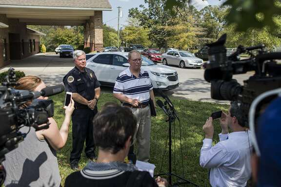ANTIOCH, TN - SEPTEMBER 24: Metro Nashville Police Department Public Affairs Manager Don Aaron answers questions related to the shooting at Burnette Chapel Church of Christ on September 24, 2017 in Antioch, Tennessee. One person was killed and seven were wounded when a gunman opened fire in the church. (Photo by Joe Buglewicz/Getty Images)