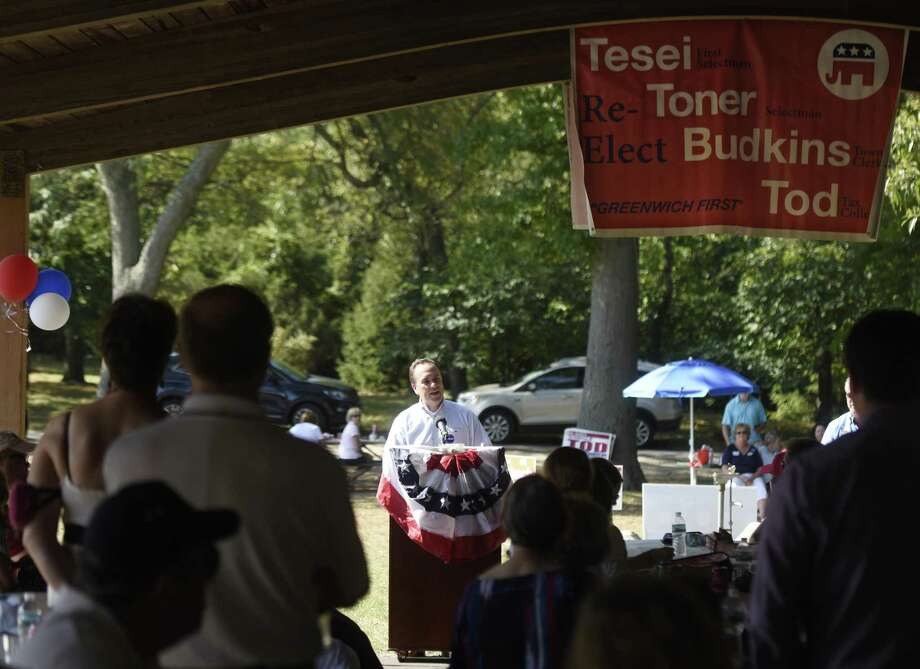 First Selectman Peter Tesei speaks at the annual Republican clambake at Greenwich Point Park in Old Greenwich, Conn. Sunday, Sept. 24, 2017. First Selectman Peter Tesei, Selectman John Toner, Tax Collector Tod Laudonia and other Republican candidates spoke to rally the base before the upcoming municipal election on November 7. Photo: Tyler Sizemore / Hearst Connecticut Media / Greenwich Time