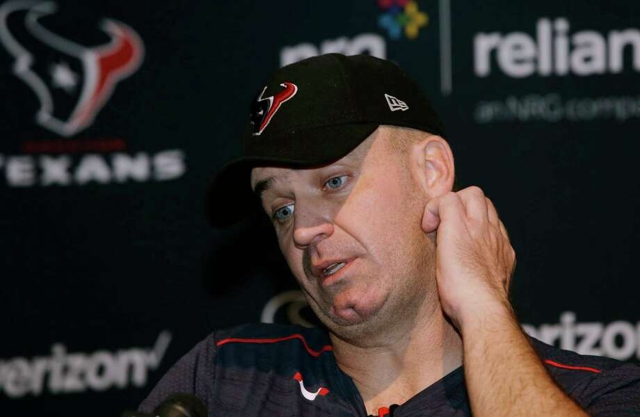 Houston Texans head coach Bill O'Brien speaks to the media following an NFL football game against the New England Patriots, Sunday, Sept. 24, 2017, in Foxborough, Mass. (AP Photo/Steven Senne) Photo: Steven Senne, Associated Press / Copyright 2017 The Associated Press. All rights reserved.