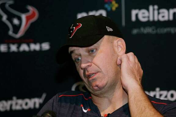 Houston Texans head coach Bill O'Brien speaks to the media following an NFL football game against the New England Patriots, Sunday, Sept. 24, 2017, in Foxborough, Mass. (AP Photo/Steven Senne)