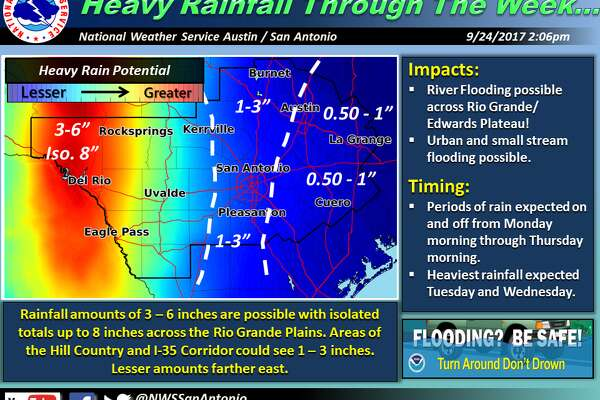 Areas of localized heavy rainfall leading to flash and river flooding will be possible Monday afternoon through early Thursday morning with the highest likelihood near the Rio Grande Plains and into the southern Edwards Plateau along U.S. 83.
