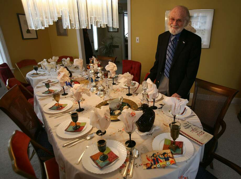Rabbi Israel C. Stein with his table set for Seder at his home in Fairfield on Monday, April 18, 2011. Stein, Rabbi Emeritus at Congregation Rodeph Sholom in Bridgeport, died Saturday, Sept. 23, 2017. Photo: Brian A. Pounds / ST / Connecticut Post
