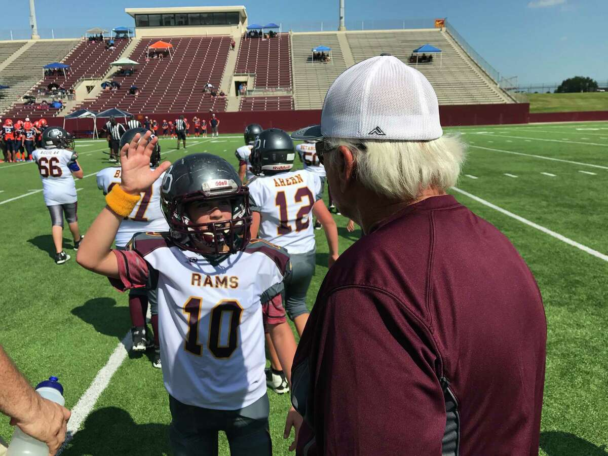 Deer Park Senior Rams player Jahlin Rowley (10) is volunteering to do something at coach Dan Bowyer's request during Saturday's game at Abshier Stadium. Maybe it was to slow down the Broncos' running game that rolled up 250 yards just in three quarters of play.