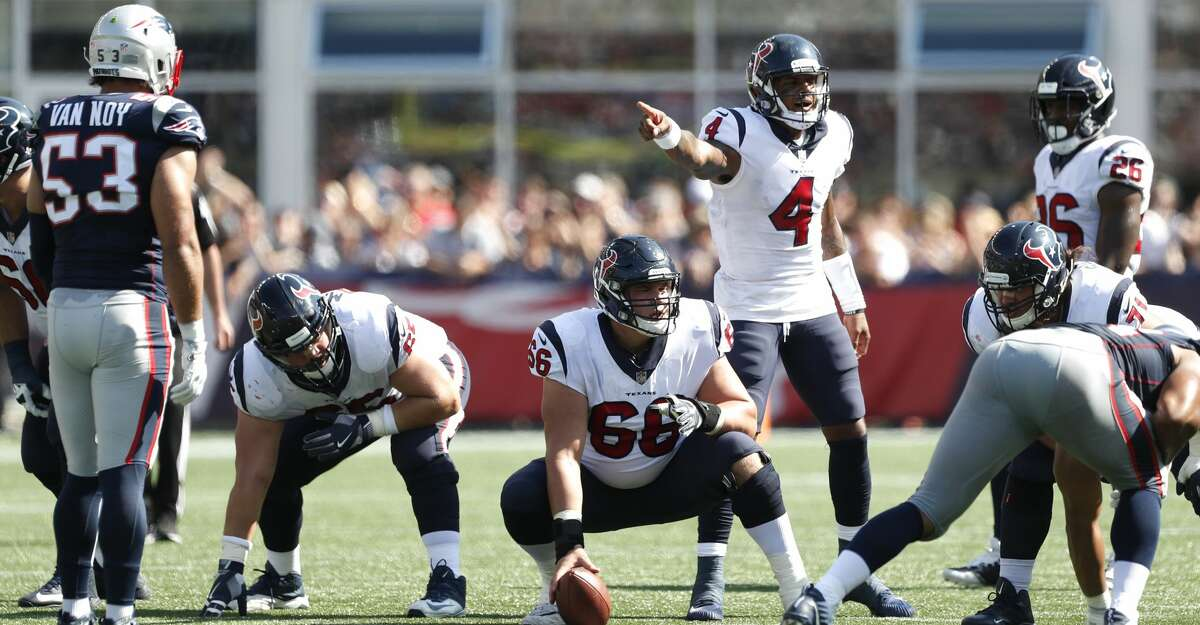 Houston Texans quarterback Deshaun Watson (4) calls signals at the line against the New England Patriots during the second quarter of an NFL football game at Gillette Stadium on Sunday, Sept. 24, 2017, in Foxbourough, Mass. ( Brett Coomer / Houston Chronicle )