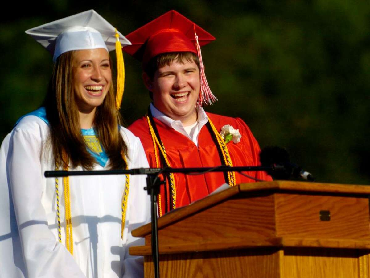 Masuk High School students Amanda Snajder and Max Gray give the graduate address during the commencement ceremony at the school Wednesday, June 23, 2010.