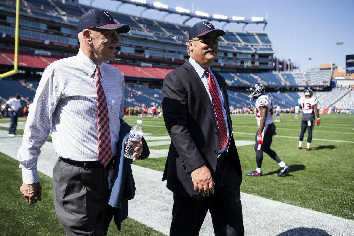 PHOTOS: A look at Cal McNair with his father Bob McNair Houston Texans owner Bob McNair and Cal McNair, Texans COO, walk off the field before Texans NFL football game againt the New England Patriots at Gillette Stadium on Sunday, Sept. 24, 2017, in Foxbourough, Mass. ( Brett Coomer / Houston Chronicle )