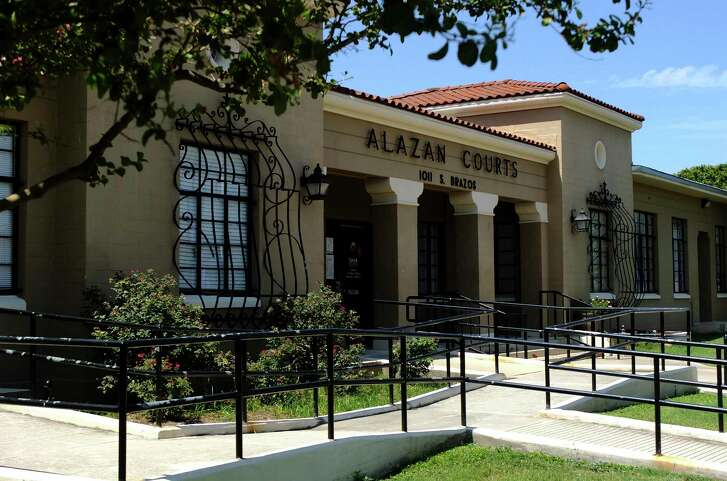 The San Antonio Housing Authority will seek another federal Choice Neighborhoods grant with plans to potentially tear down and redevelop the Alazan Courts public housing complex. Some residents have asked that the Alazan Courts administrative building, shown here at 1011 S. Brazos St., be preserved.