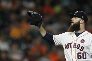 Houston Astros starting pitcher Dallas Keuchel (60) between pitches during the sixth inning of an MLB baseball game at Minute Maid Park, Thursday, Sept. 21, 2017, in Houston.  ( Karen Warren / Houston Chronicle )