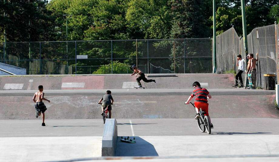 People take advantage of the warm weather to get out to skate and ride at the Blue Banks Skatepark at Washington Park on Sunday, Sept. 24, 2017, in Albany, N.Y.  (Paul Buckowski / Times Union)