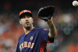 Houston Astros starting pitcher Justin Verlander (35) between pitches during the first inning of an MLB baseball game at Minute Maid Park, Sunday, Sept. 17, 2017, in Houston.  ( Karen Warren / Houston Chronicle )