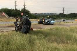 A pickup truck hydroplaned and spun into traffic, injuring three people, including the driver of the pickup, Sunday, Sept. 24, 2017, according to police.