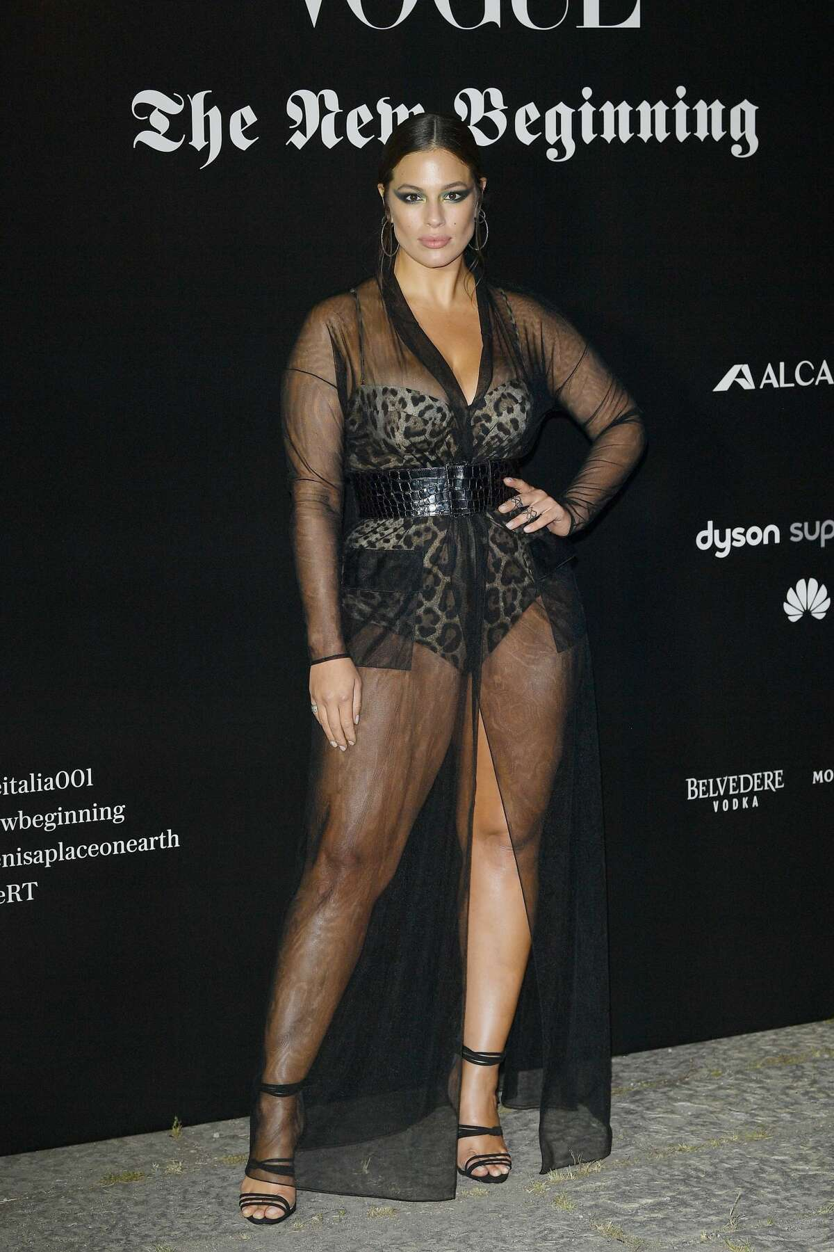 Ashley Graham attends theVogue Italia 'The New Beginning' Party during Milan Fashion Week Spring/Summer 2018 on September 22, 2017. Keep clicking to see more sheer dresses seen at Milano Fashion Week.