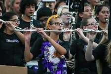The Montgomery High School marching band performs the school fight song during the varsity homecoming football game against Ellison on Friday, Sept. 15, 2017, at Bears Stadium. (Michael Minasi/ Chronicle)