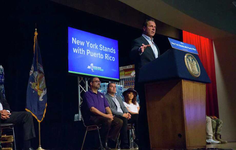 September 24,  2017- New York, NY - Governor Andrew M. Cuomo was joined by New Yorkers Jennifer Lopez, Rose Perez and pitcher Seth Lugo of the Mets, along with elected officials and labor, business and hospital leaders to provide an update on the Puerto Rico recovery effort and to make an announcement. (Philip Kamrass/ Office of Governor Andrew M. Cuomo) Photo: Philip Kamrass / Office of Governor Andrew M. Cuomo, 2017
