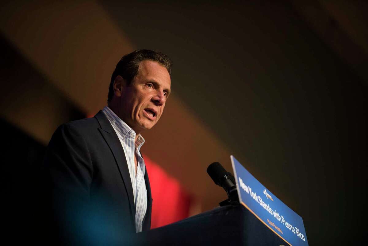 Governor Andrew Cuomo announces new hurricane recovery efforts for Puerto Rico Sunday, Sept. 24, 2017 in New York. The effort include partnering with private and government organizations to get aid to Puerto Rico. (AP Photo/Michael Noble Jr.) ORG XMIT: NYMN108
