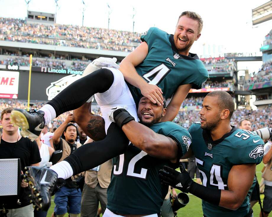 It isn't every day you kick a 61-yard, game-winner. And you're definitely not supposed to be doing it in the third game of your NFL career. Jake Elliott's big leg helped Philadelphia edge out the Giants 27-24. Photo: Elsa/Getty Images