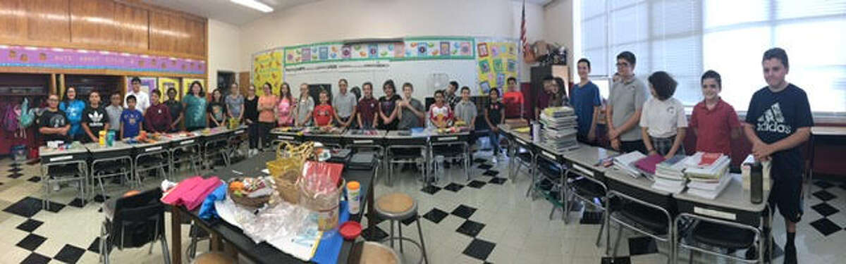 Pictured are students from the two classrooms who adopted Mrs. KeaslingÂ?'s classroom.