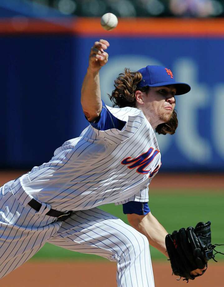 New York Mets starting pitcher Jacob deGrom delivers during the first inning of a baseball game against the Washington Nationals, Sunday, Sept. 24, 2017, in New York. (AP Photo/Kathy Willens) ORG XMIT: NYM101 Photo: Kathy Willens / Copyright 2017 The Associated Press. All rights reserved.