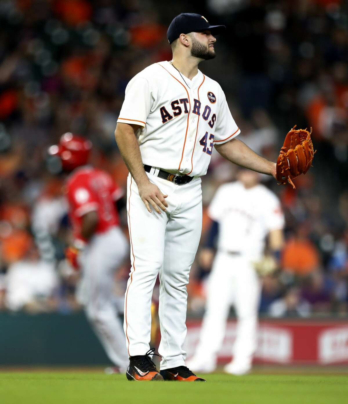 Houston Astros starting pitcher Lance McCullers Jr. (43) reacts after giving up a home run to Los Angeles Angels Brandon Phillips during he fourth inning of an MLB baseball game at Minute Maid Park, Sunday, Sept. 24, 2017, in Houston. ( Karen Warren / Houston Chronicle )