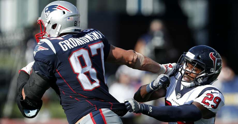 PHOTOS: Patriots 36, Texans 33New England Patriots tight end Rob Gronkowski (87) breaks away from Houston Texans free safety Andre Hal (29) during the third quarter of an NFL football game at Gillette Stadium on Sunday, Sept. 24, 2017, in Foxbourough, Mass. ( Brett Coomer / Houston Chronicle )Browse through the photos to see action from the Texans' loss to the Patriots on Sunday. Photo: Brett Coomer/Houston Chronicle