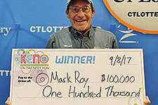 Within the last year, Mark Roy, of Groton, become the state's top Keno winner by playing the same seven numbers twice - at the same tavern - to win a total of $300,000. While recently playing Keno at the Gatehouse Tavern in Groton, Roy matched seven of the seven numbers on his $20 ticket. Since the bonus multiplier was 2X, Roy's prize was automatically multiplied to $100,000. Last year, while at the Gatehouse Tavern, he won $200,000 by playing those same seven numbers. Because those numbers matched the seven selected by a computer - and the fact that he 4X multiplier - his $50,000 prize was quadrupled.