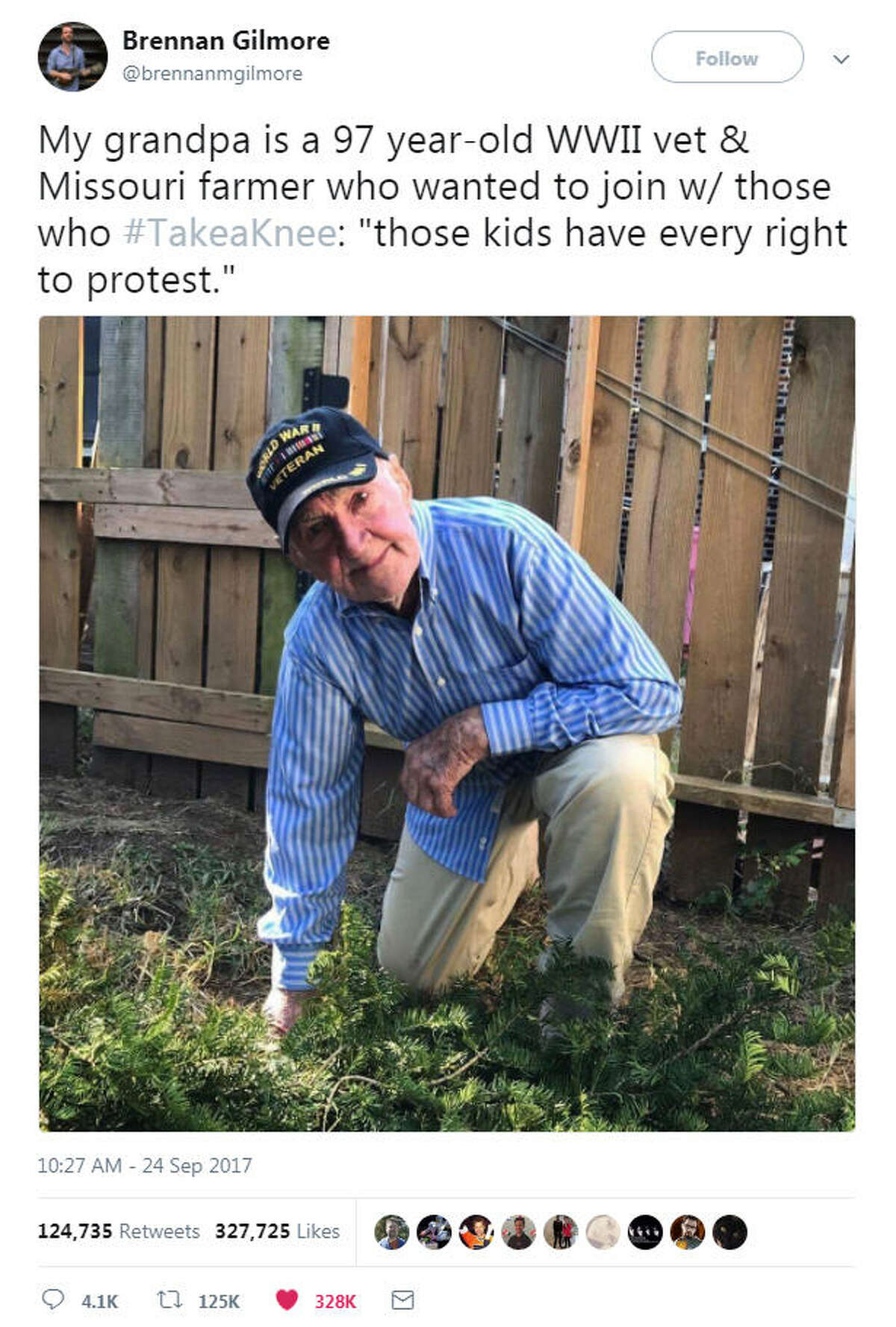 A 97-year-old WWII veteran lent his support to hundreds of athletes around the U.S. protesting comments made by President Donald Trump over respecting the national anthem. Swipe through to see photos of athletes taking the knee this weekend.