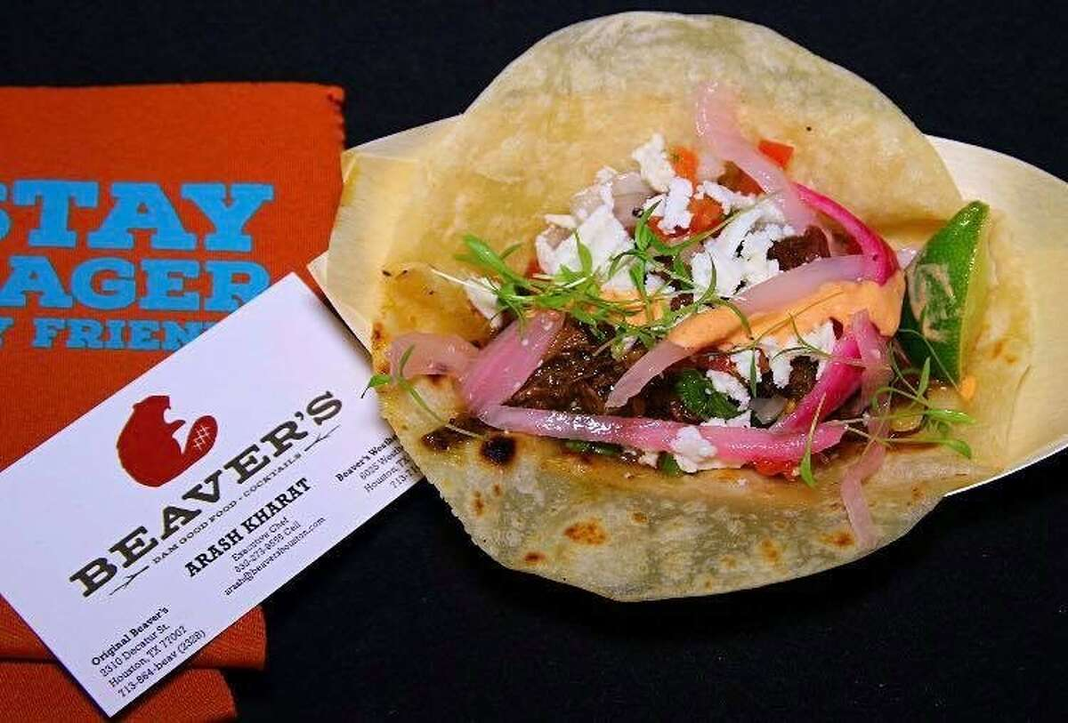 Brisket taco on brisket fat tortilla from Beavers Westheimer was a featured dish at the 2017 HOUBBQ Throwdown, and one of was one of the best barbecue bites of the year for Greg Morago, one of the hosts of the BBQ State of Mind podcast.