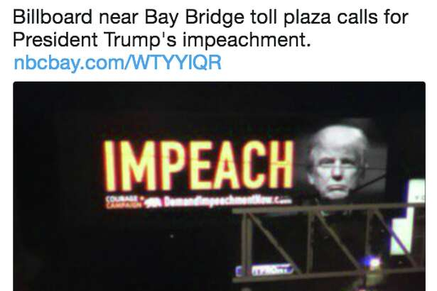 """The California Courage Campaign commissioned an """"Impeach Donald Trump"""" billboard on the San Francisco Bay Bridge. The east-facing video billboard will appear Sept. 25 through Oct. 1."""