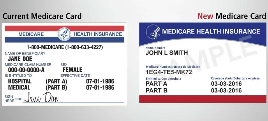 This image provided by the Centers for Medicare & Medicaid Services shows what the new Medicare card, right, will look like, compared to the current one at left. The cards are getting a makeover to fight identity theft.(Centers for Medicare & Medicaid Services via AP) Photo: / Associated Press / Internal
