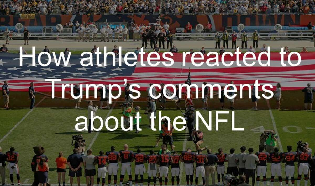 See how athletes reacted to President Donald Trump's remarks about NFL players kneeling during the national anthem.