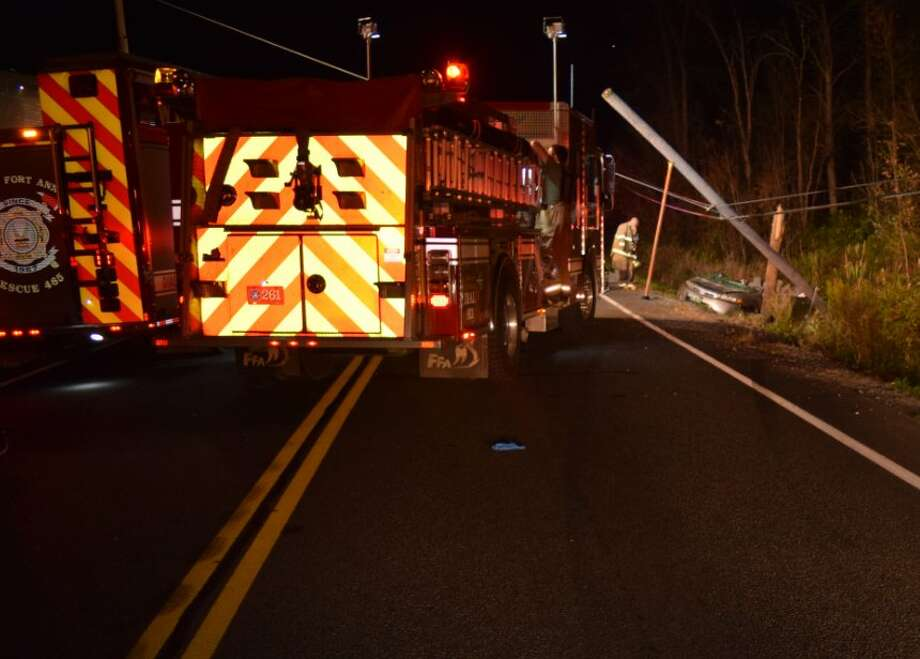 A Vermont woman was seriously injured when her car veered off of Route 4 in Fort Ann Sunday night and hit a power pole. Photo: Washington County Sheriff's Office