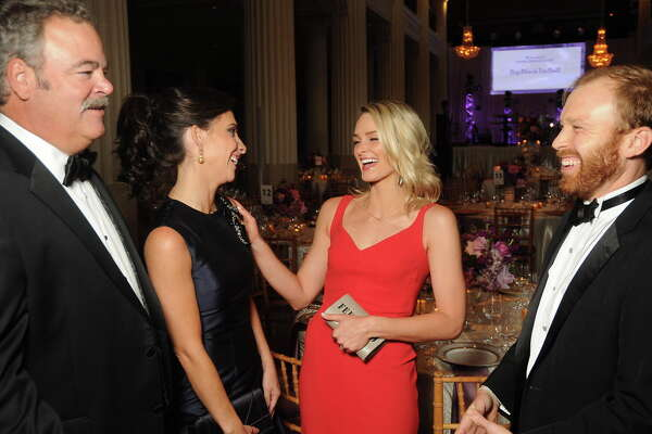 From left: Chairs Hannah and Cal McNair chat with Sarahbeth Melton and Pierce Bush at the Big Brothers Big Sisters Big Black Tie Ball at The Corinthian Friday Sept. 22, 2017.