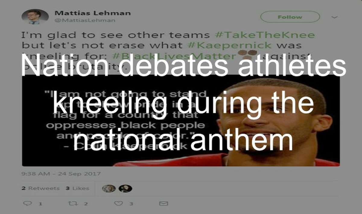 See how people reacted to NFL players kneeling during the national anthem on Twitter up ahead.