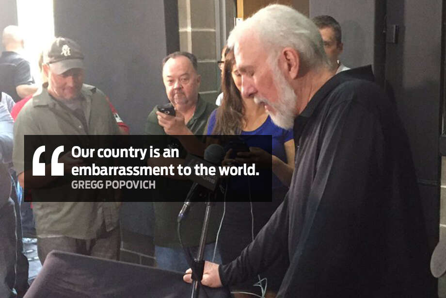 """Our country is an embarrassment to the world."" Spurs Coach Gregg Popovich speaks out about U.S. politics and President Donald Trump during Spurs Media Day on Monday, Sept. 25, 2017. Photo: Jim Lefko/Twitter"