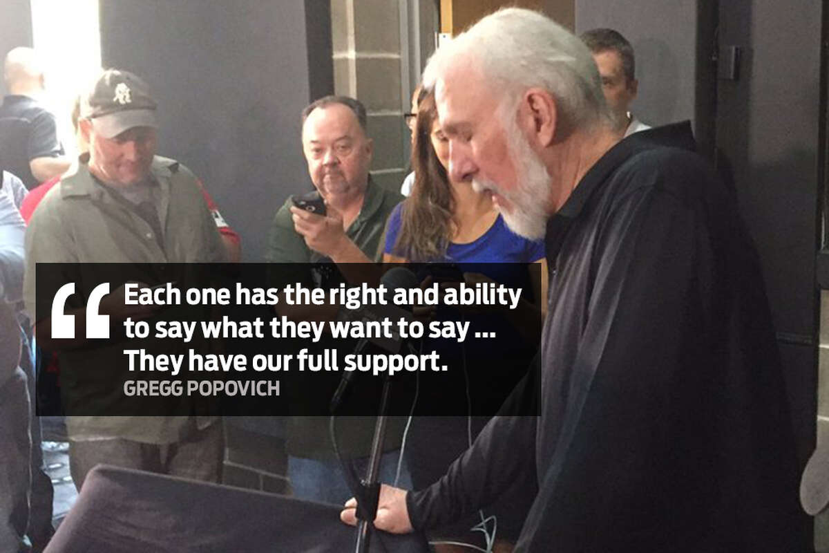 """""""Each (player) has the right and ability to say what they want to say ... They have our full support."""" Spurs Coach Gregg Popovich speaks out about U.S. politics and President Donald Trump during Spurs Media Day on Monday, Sept. 25, 2017."""