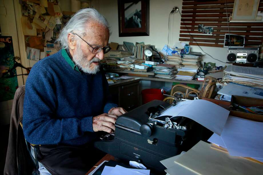 Novelist Herb Gold, 93 still types books on his Royal typewriter, at his home in San Francisco, Ca., as seen on Thursday September 21,  2017. Photo: Michael Macor, The Chronicle