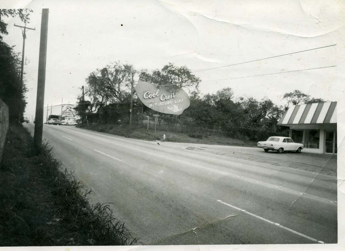 The iconic Cool Crest sign, as seen on Fredericksburg Road in 1974. More than 40 years later, the sign remains a Cool Crest fixture to this day.