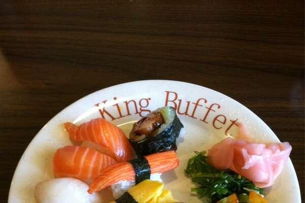 Sushi at King Buffet.  King Buffet  6200 Bandera Road  San Antonio, TX. 78238  (210) 647-8888  www.KingBuffetSA.com