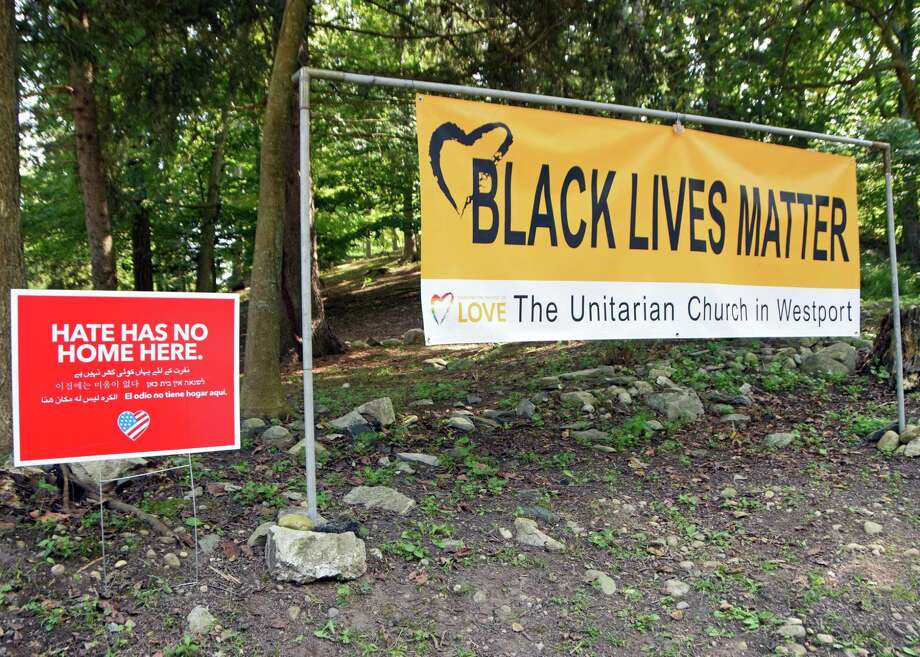 The vandalized Black Lives Matter sign at the Unitarian Church of Westport. Photo: Contributed Photo / Hearst Connecticut Media / New Canaan News