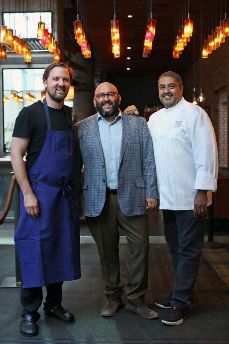 Original crew: RN74's original chef Jason Berthold (left), wine director Rajat Parr and founder Michael Mina at the landmark S.F. restaurant that is closing Oct. 7. Photo: Scott Strazzante, The Chronicle