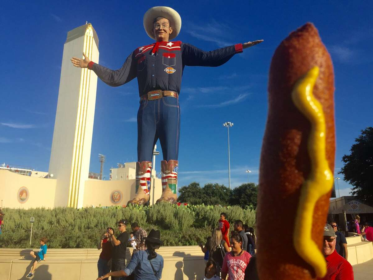 Corny Dogs in front of Big Tex at the State Fair of Texas