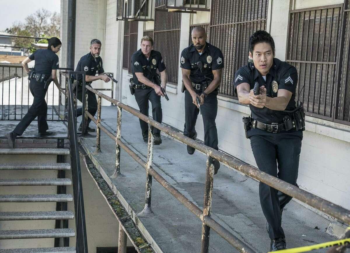 David Lim, from right, Shemar Moore, Kenny Johnson, Jay Harrington and Lina Esco star in the police drama