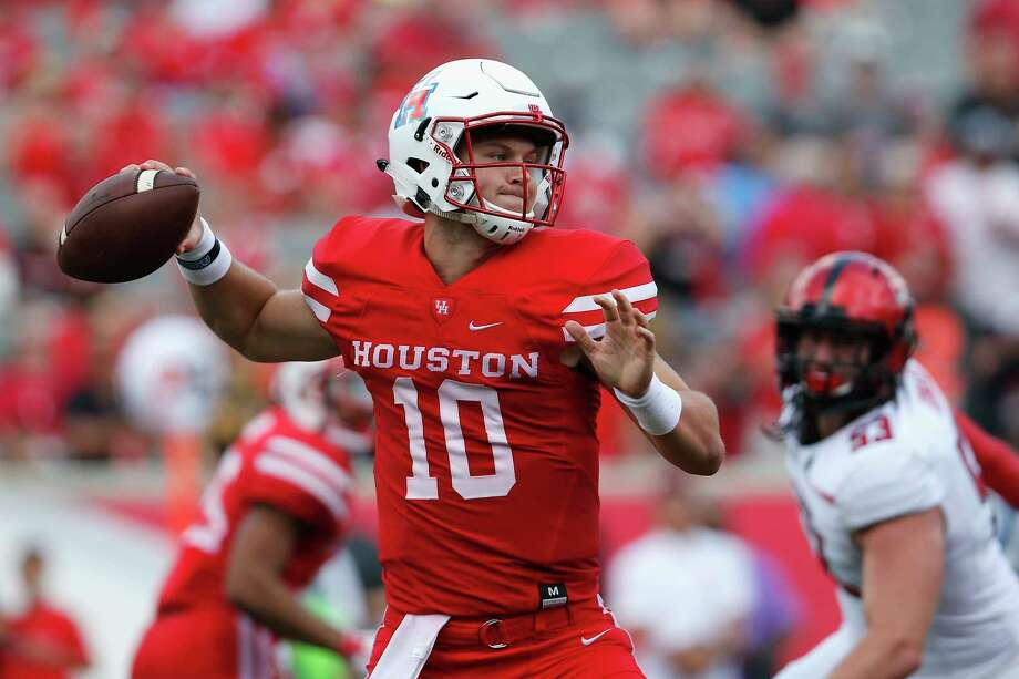 Houston Cougars quarterback Kyle Allen (10) throws a pass in the third quarter during the NCAA football game between the Texas Tech Red Raiders and the Houston Cougars at TDECU Stadium in Houston, TX on Saturday, September 23, 2017. Photo: Tim Warner, Freelance / Houston Chronicle